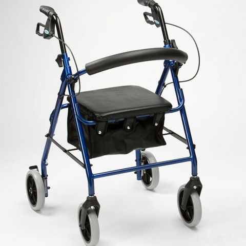 Drive-Medical-Lightweight-Aluminium-Padded-Seat-Rollator-Blue