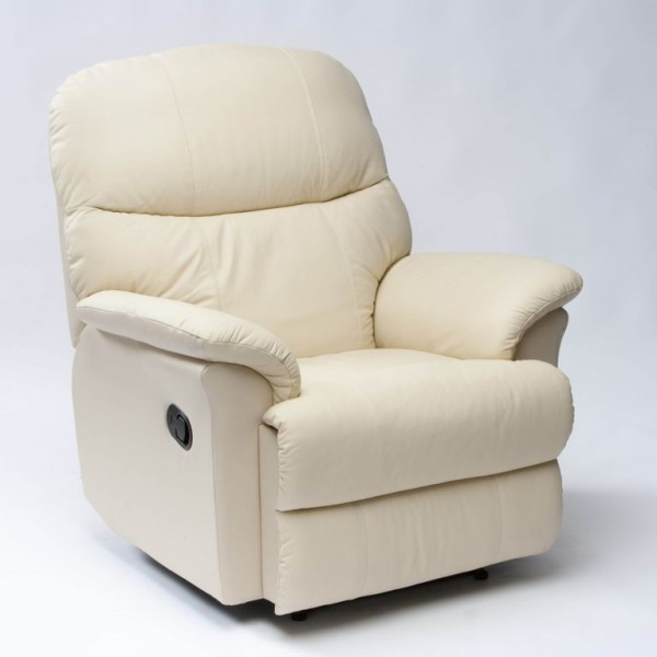 Lars Luxury Leather Rise And Recline Cream Front